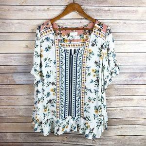 Lucky Brand | Floral Crochet Ruffle Hem Top Sz 1X